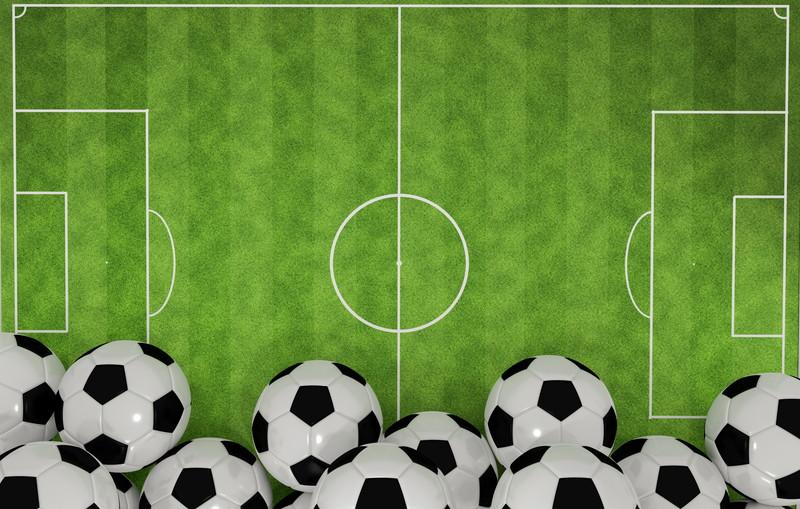 サッカーボールとコート